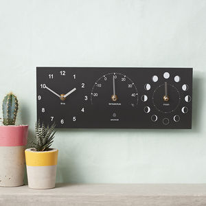 Eco Recycled Moon Phase, Outdoor Clock And Thermometer - bedroom