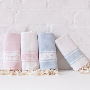Personalised Embroidered Fouta Bathroom Hand Towel - towels & bath mats