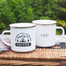 Family Camping Personalised Enamel Mug