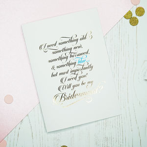 Gold Foil Will You Be My Bridesmaid Card - be my bridesmaid?