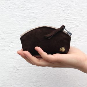 Reclaimed Suede Halfmoon Coin Purse