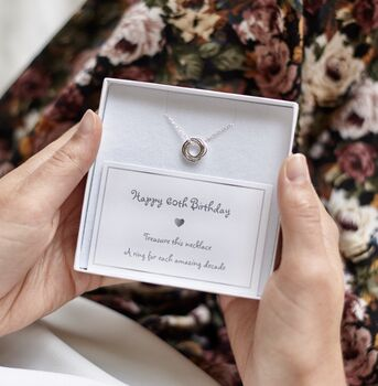 60th Birthday Sterling Rings Necklace