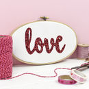 Love Glitter Embroidery Hoop Sign