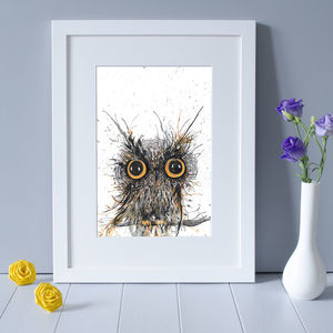 Wide Eyed Owl Print - paintings