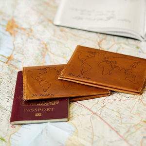 World Map Passport Holder Wedding Gift Set - gifts for couples