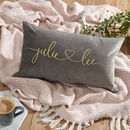 Grey velvet cushion for couples