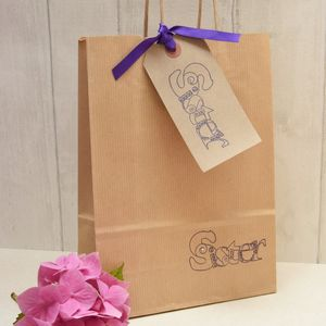 'Sister' Gift Bag And Tag - ribbon & wrap