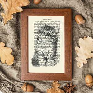 Tabby Kitten Screen Print On Vintage Book Page