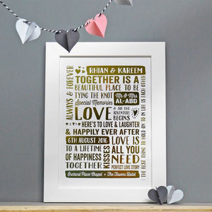 Personalised Mr And Mrs Wedding Date Couple Gift Print - personalised