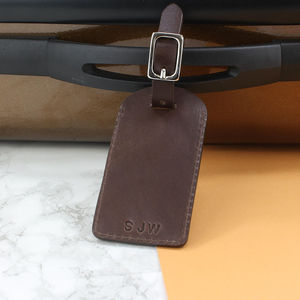 Personalised Italian Leather Luggage Tag