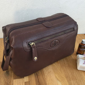 Large Luxury Soft Leather Wash Bag