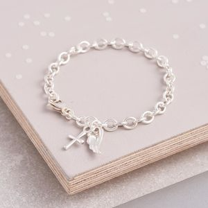 Angel Wing And Cross Silver Christening Bracelet - bracelets & bangles