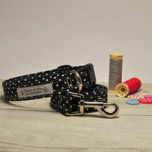Black Spotty Dog Collar And Lead Set - dogs