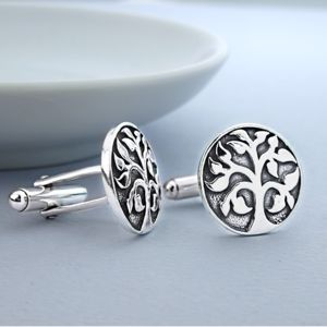 Silver Tree Of Life Cufflinks - cufflinks