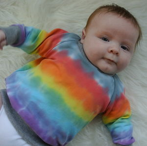 Grey Rainbow Tie Dye Unisex Sweater - clothing