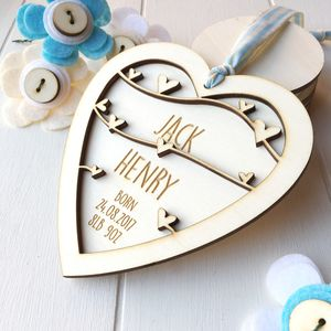 Personalised New Baby Boy Keepsake Heart - decorative accessories