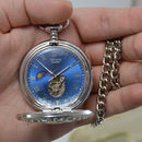 Silver Personalised Pocket Watch With Ornate Web Design