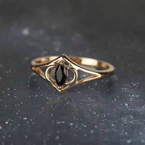 Vintage Style Two Moons Black Spinel Silver/Gold Ring