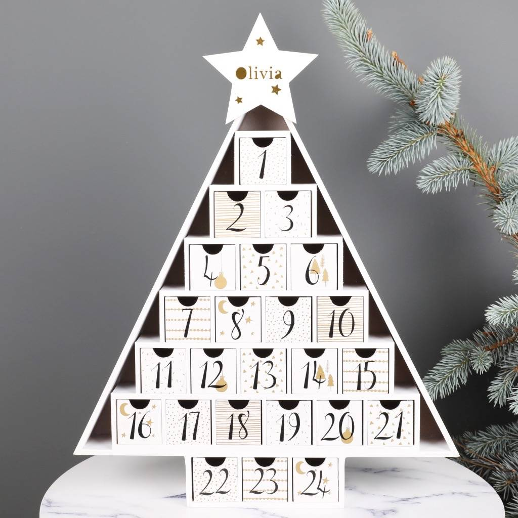 personalised wooden christmas tree advent calendar - Wooden Christmas Tree