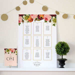 Modern Botanical Wedding Seating Chart