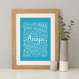 Personalised 16th Birthday Gift - typography