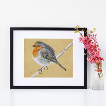 An English Robin Mounted Signed Giclée Print