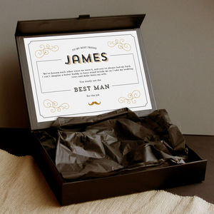 Personalised Groomsman Gift Box, Black Suit Up