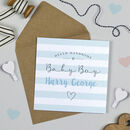 Personalised Candy Stripe Baby Boy Card