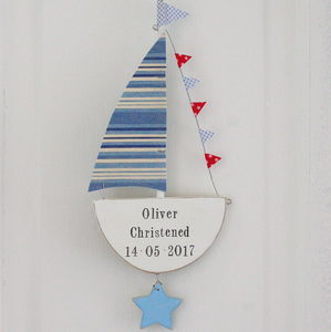Personalised Hanging Sailing Boat With Star