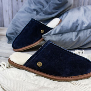 5f430aea3a434 Mens Handmade Navy Sheepskin And Suede Slippers