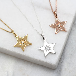 Diamond Set 18ct Gold Or Silver Star Necklace