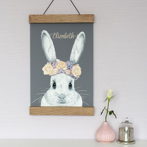 Bunny With Flower Crown Print - new in baby & child
