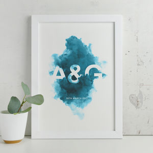Personalised Smoke Initials Contemporary Print - for him
