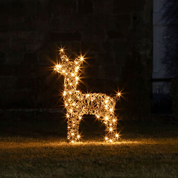 Light Up Rattan Fawn Figure