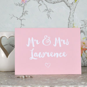 Personalised Mr And Mrs Wedding Card