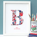 Personalised Boy Initial Button Letter Framed Art