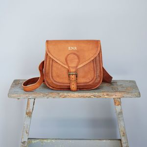 Curved Brown Leather Saddle Bag - cross-body bags