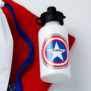 Boys Personalised Superhero Water Bottle