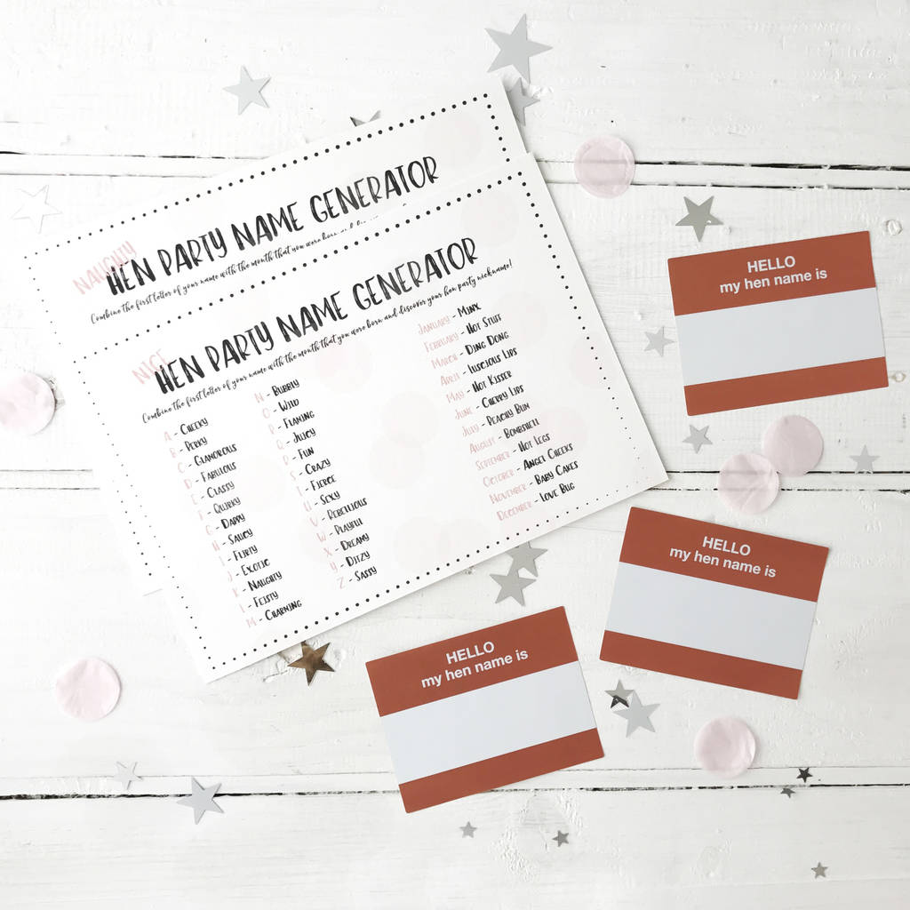 hen party name stickers and game by postbox party
