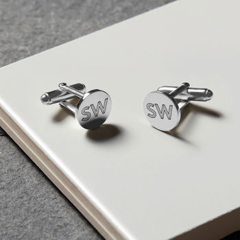 Personalised Sterling Silver Facett Initial Cufflinks