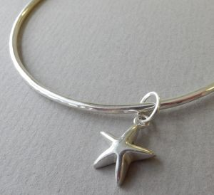 Delicate Silver Star Charm Bangle - children's jewellery