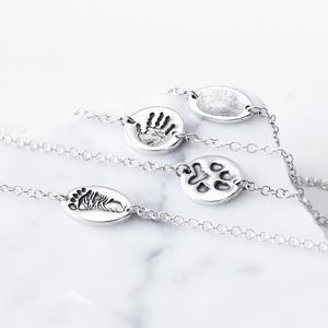 Silver Finger Hand And Foot Print Chain Bracelet - bracelets & bangles