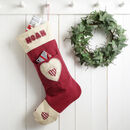 personalised letter to santa stocking, red with heart