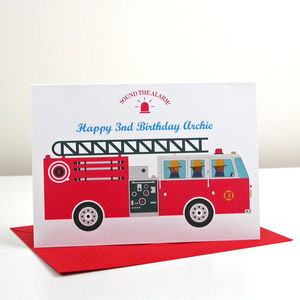 Child's Fire Engine Birthday Or Greetings Card