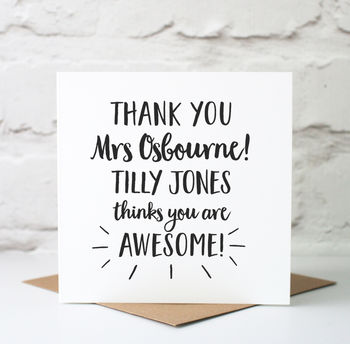 Personalised Card for teacher You Are Awesome