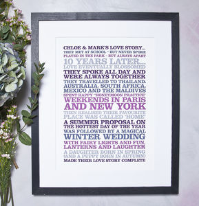 Personalised 'Love Story' Poster Print - love is... just for you