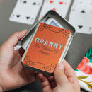 Personalised Bridge Card Game Tin