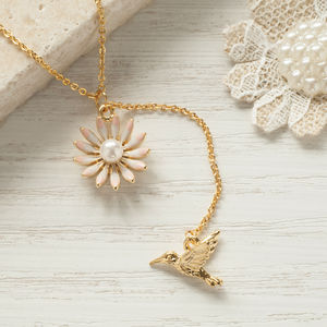 Gold Bird Flower Necklace - necklaces & pendants
