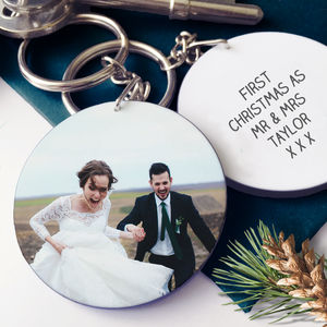 First Christmas As Newlyweds Photo Message Keyring - whats new