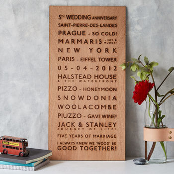 fifth wooden wedding anniversary gift